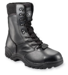 Black Leather Safety High Leg Boot with Steel Midsole