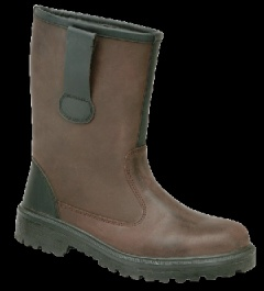 Brown Fur Lined Rigger Boot, Hi-Vis Tape on Heel